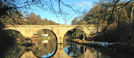 Prebends Bridge, Durham (Bild: Boyward, CC Wikipedia, bearb MSchmidt)