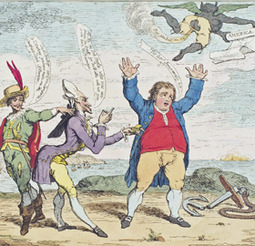 Gillray The Times (1783): Spanien und Frankreich verspotten Großbritannien nach der Niederlage gegen die USA 1783