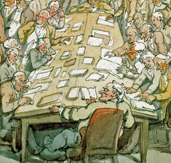 Rowlandson, Der Anatom John Heavisite bei der Vorlesung, 1790er Jahre