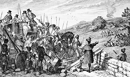 Cruikshank - Postkutschenüberfall und Ermordung des britischen Leutnants William Gifford 1798 (brit. Darstellung 1845)