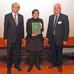 LMU-Forscherpreis Verleihung 2014 (Vizepräsident Wirsing, Preisträgerin Maier, Prorektor Jahraus)