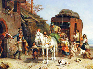 Italienische Poststation mit Bettlern - die Situation der 1830er Jahre war ähnlich im späten 18. Jahrhundert