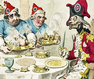 """Gillrays Karikatur von 1793: Britische Radikale richten dem Revolutionsgeneral Dumourier einen """"Staatsempfang"""" aus"""