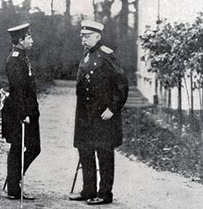 Bismarck (Mitte) und Wilhelm II.